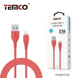 CABLE 2.1A 1M LIGHTNING ROJO