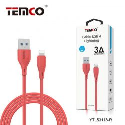 CABLE 3A 1M LIGHTNING ROJO